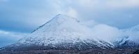 Winter snow coveres Glamaig - Sgurr Mhairi, Red Cuillin hills, Isle of Skye, Scotland