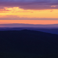 """""""The Colors of Silence""""<br /> <br /> Peaceful sunset over the mountain layers of the Blue Ridge Mountains of Virginia!!<br /> <br /> The Blue Ridge Mountains by Rachel Cohen"""