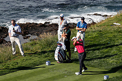 June 11, 2019 - Pebble Beach, CA, U.S. - PEBBLE BEACH, CA - JUNE 11: PGA golfer Martin Kaymer tees off on the 8th hole during a practice round for the 2019 US Open on June 11, 2019, at Pebble Beach Golf Links in Pebble Beach, CA. (Photo by Brian Spurlock/Icon Sportswire) (Credit Image: © Brian Spurlock/Icon SMI via ZUMA Press)
