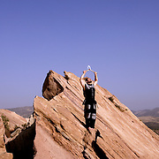 ACTON, CALIFORNIA, March 25, 2007: Shervin Ilbeig. stands on rocks  at Vazquez Rocks in Acton, California. (Photograph by Todd Bigelow/Aurora)