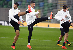 Germany's Mat Hummels (left) during the training session at Windsor Park, Belfast.