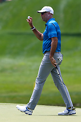 June 22, 2018 - Cromwell, Connecticut, United States - Stewart Cink waves to the gallery after putting the 8th green during the second round of the Travelers Championship at TPC River Highlands. (Credit Image: © Debby Wong via ZUMA Wire)