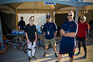 # 32 (CRAIN Brooke) USA with the USA management crew at the UCI BMX Supercross World Cup in Santiago del Estero, Argentina.