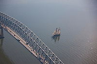 Schooner sailing at Key Bridge on Patapsco River
