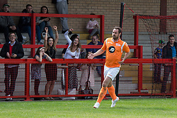 © Licensed to London News Pictures . 02/08/2015 . Droylsden Football Club , Manchester , UK . Crowd cheers as DANNY DYER scores . Celebrity football match in aid of Once Upon a Smile and Debra , featuring teams of soap stars . Photo credit : Joel Goodman/LNP
