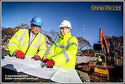 Care UK latest care home in Sutton Coldfied due to open in 2018. Picture are Andrew Brett, Care UK  (blue hard hat) and  Andrew Baddeley, Octopus Healthcare Development Manager. (white hard hat) on site  29th November 2016 Picture by Shaun Fellows / Shine Pix