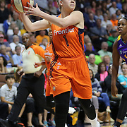 UNCASVILLE, CONNECTICUT- MAY 26:  Rachel Banham #1 of the Connecticut Sun in action during the Los Angeles Sparks Vs Connecticut Sun, WNBA regular season game at Mohegan Sun Arena on May 26, 2016 in Uncasville, Connecticut. (Photo by Tim Clayton/Corbis via Getty Images)