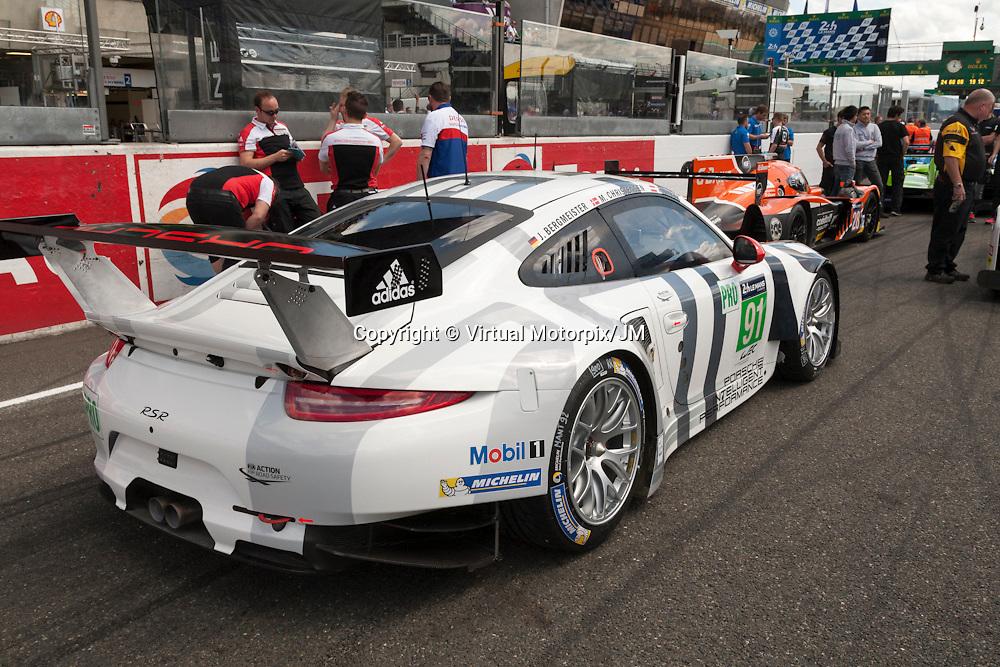 #91 Porsche 911 RSR, Team Manthey Porsche driven by Richard Lietz, Michael Christensen, Jorg Bergmeister, Le Mans 24hr 2015, Test Day