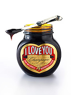 """Jar of traditional Marmite with """"I Love You"""" on label"""