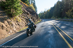 Steve Macdonald riding his 1928 Henderson Deluxe during Stage 16 (142 miles) of the Motorcycle Cannonball Cross-Country Endurance Run, which on this day ran from Yakima to Tacoma, WA, USA. Sunday, September 21, 2014.  Photography ©2014 Michael Lichter.