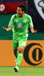 29.07.2011, Red Bull Arena, Leipzig, GER, DFB 1. Pokalrunde, RB Leipzig vs VFL Wolfsburg, im Bild.Makoto Hasebe (Wolfsburg)  Jubel.// during the Pokal fight first Round from GER, Leipzig vs VFL Wolfsburg on 2011/07/29, Red Bull Arena, Leipzig, Germany..EXPA Pictures © 2011, PhotoCredit: EXPA/ nph/  Hessland       ****** out of GER / CRO  / BEL ******