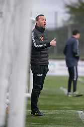 Stenhousemuir's manager Colin McMenamin. Stenhousemuir 1 v 0 Airdrie, Scottish Football League Division One played 26/1/2019 at Ochilview Park.
