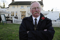 © Licensed to London News Pictures. 13/11/2012.George Flett age 62 outside the Horse and Groom Harvester in Sidcup, Kent..A 22 year old soldier who is to go to Afghanistan was told to cover up his uniform on Remembrance Sunday by staff at a  restaurant in  Sidcup, Kent..George Flett, an ex-serviceman who served in the army for 10 years, had been to a memorial service at St John's Church, in Church Road, Sidcup, with the 22-year-old soldier.The pair then headed to the Horse and Groom Harvester  in Main Road, Sidcup where after ordering drinks at the bar a manager come up to the pair and asked  that the soldier cover up his uniform as its against the law..Photo credit : Grant Falvey/LNP