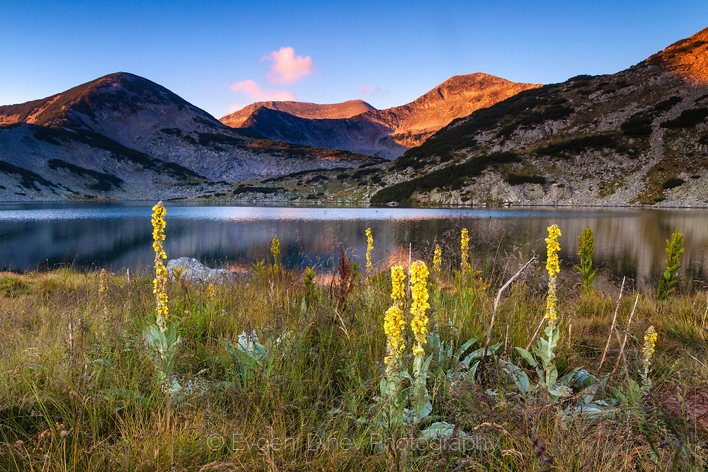Crystal calm lake at sunrise in the mountain