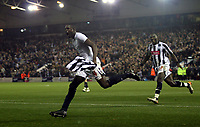 Photo: Mark Stephenson.<br /> West Bromwich Albion v Stoke City. Coca Cola Championship. 03/10/2007.West Brom's Leon Barnett (no 4 ) celebrates his goal followed by Ishmael Miller