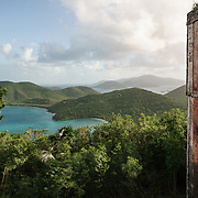 America Hill ruins overlooking Maho and Francis Bays and the British Virgin Islands in distance.