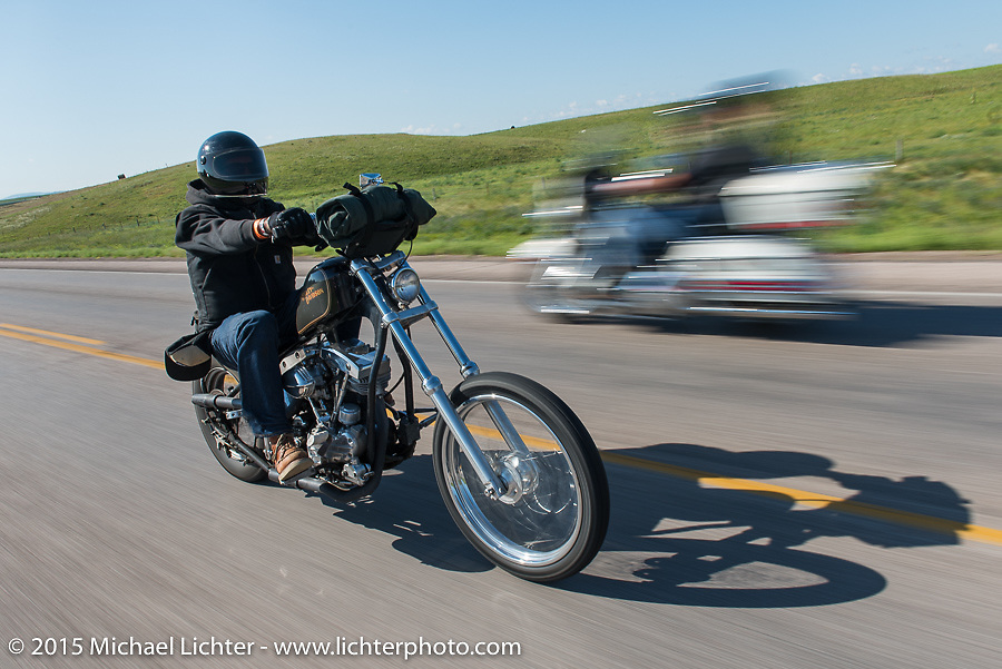 """Mike """"Otto"""" Deutsch from Biltwell on Aiden's Ride, dedicated to help raise awareness for ALD after Bobby Seeger Jr. of Indian Larry Motorcycles' son passed away from the disease, during the 75th Annual Sturgis Black Hills Motorcycle Rally.  SD, USA.  August 6, 2015.  Photography ©2015 Michael Lichter."""