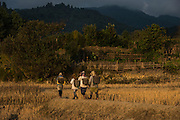 Apatani women carrying baskets<br /> Apatani Tribe<br /> Ziro Valley, Lower Subansiri District, Arunachal Pradesh<br /> North East India