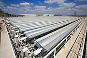 Israel, Bet Shemesh, Solel's industrial parabolic solar collectors in operation at their Bet Shemesh headquarters. Solel Industries is a manufacturer of solar collectors for solar fields in the world. In Israel, however the building of a solar field is being delayd.