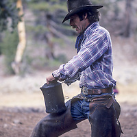 Wrangler Joe Tomaselli, cowboy coffee, Ansel Adams Wilderness, Sierra Nevada, CA.
