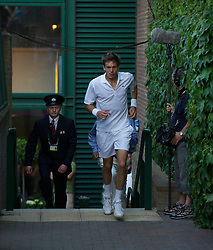 LONDON, ENGLAND - Wednesday, June 23, 2010: Nicolas Mahut (FRA) returns from a toilet break during his record-breaking marathon Gentlemen's Singles 1st Round match, which ended due to bad light at 59-59 in the fifth set, on day three of the Wimbledon Lawn Tennis Championships at the All England Lawn Tennis and Croquet Club. (Pic by David Rawcliffe/Propaganda)