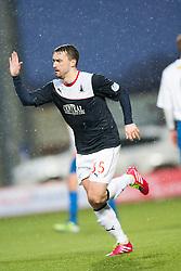Falkirk's Mark Millar cele scoring their penalty.<br /> Falkirk 1 v 1 Morton, Scottish Championship game today at The Falkirk Stadium.<br /> © Michael Schofield.