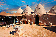 """Pictures of the beehive adobe buildings of Harran, south west Anatolia, Turkey.  Harran was a major ancient city in Upper Mesopotamia whose site is near the modern village of Altınbaşak, Turkey, 24 miles (44 kilometers) southeast of Şanlıurfa. The location is in a district of Şanlıurfa Province that is also named """"Harran"""". Harran is famous for its traditional 'beehive' adobe houses, constructed entirely without wood. The design of these makes them cool inside. 19 .<br /> <br /> If you prefer to buy from our ALAMY PHOTO LIBRARY  Collection visit : https://www.alamy.com/portfolio/paul-williams-funkystock/harran.html<br /> <br /> Visit our TURKEY PHOTO COLLECTIONS for more photos to download or buy as wall art prints https://funkystock.photoshelter.com/gallery-collection/3f-Pictures-of-Turkey-Turkey-Photos-Images-Fotos/C0000U.hJWkZxAbg ."""