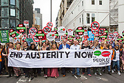 The start of the People's Assembly Against Austerity 'End Austerity Now' demonstration attended by over 250,000 people on Saturday 20th of June 2015 sending a clear message to the Tory government; demanding an alternative to austerity and to policies that only benefit those at the top. London, UK.