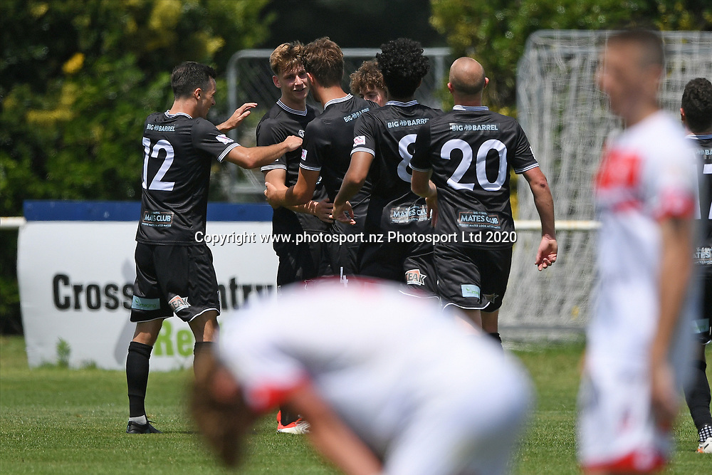 Hawke's Bay United players celebrate a goal in the Handa Premiership football match, Hawke's Bay United v Waitakere United, Bluewater Stadium, Napier, Sunday, December 20, 2020. Copyright photo: Kerry Marshall / www.photosport.nz