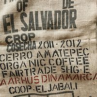 A coffee sack from El Jabali coop. The coffee is marketed as Cerro Amatepec. In this case the coffee will be shipped to Gothemburg, Sweden. Cooperativa El Jabali is a certified Fairtrade coffee producer based in El Salvador.