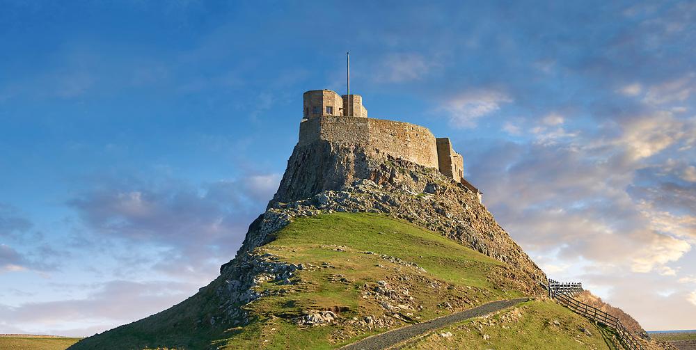 Lindisfarne Castle & Lobster Pots, fishing boat - 16th Century castle, Holy Island, Lindisfarne, Northumberland, England