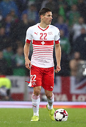 Switzerland's Fabian Schar during the 2018 World Cup Qualifying Play-Off, First Leg match at Windsor Park, Belfast. PRESS ASSOCIATION Photo. Picture date: Thursday November 9, 2017. See PA story SOCCER N Ireland. Photo credit should read: Niall Carson/PA Wire. RESTRICTIONS: Editorial use only. Commercial use only with prior written consent.
