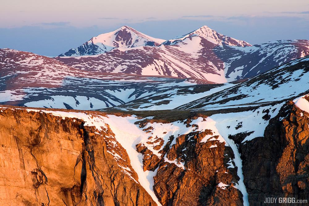 June sunrise on Grays Peak(l) 14,270ft, and Torreys Peak (r) 14,267ft, Colorado.