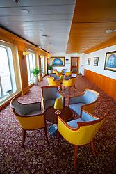 Lounge bar area inside Queen Elizabeth 2 former ocean liner now reopened as hotel in Dubai , United Arab Emirates