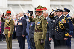 © Licensed to London News Pictures. 25/04/2019. London, UK. Former servicemen take part in a ceremony at The Cenotaph on Whitehall to mark Anzac Day. Photo credit : Tom Nicholson/LNP