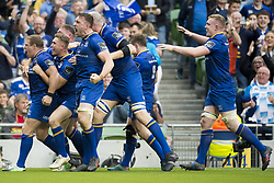 May 27, 2018 - Dublin, Ireland - Sean Cronin of Leinster celebrates his scoring during the Guinness PRO14 Final match between Leinster Rugby and Scarlets at Aviva Stadium in Dublin, Ireland on May 26, 2018  (Credit Image: © Andrew Surma/NurPhoto via ZUMA Press)