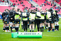 Glasgow Warriors team huddle during the pre match warm up<br /> <br /> Photographer Simon King/Replay Images<br /> <br /> Guinness PRO14 Round 19 - Scarlets v Glasgow Warriors - Saturday 7th April 2018 - Parc Y Scarlets - Llanelli<br /> <br /> World Copyright © Replay Images . All rights reserved. info@replayimages.co.uk - http://replayimages.co.uk