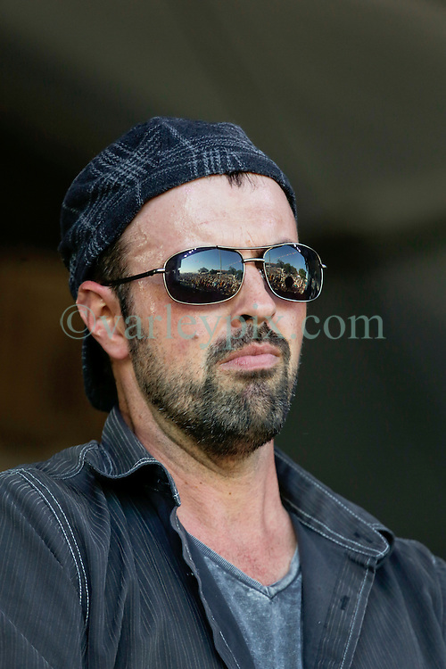 03 May 2015. New Orleans, Louisiana.<br /> The New Orleans Jazz and Heritage Festival. <br /> Wilson Savoy of the Pine Leaf Boys plays Fais Do-Do stage.<br /> Photo; Charlie Varley/varleypix.com