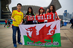 NANNING, CHINA - Monday, March 26, 2018: Chinese Wales supporters during the 2018 Gree China Cup International Football Championship Final between Wales and Uruguay at the Guangxi Sports Centre. (Pic by David Rawcliffe/Propaganda)