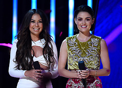 LOS ANGELES - AUGUST 13: Janel Parrish and Lucy Hale onstage at FOX's 'Teen Choice 2017' at the Galen Center on August 13, 2017 in Los Angeles, California. (Photo by Frank Micelotta/FOX/PictureGroup) *** Please Use Credit from Credit Field ***