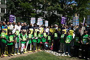 Solidarity gathering in remembrance of the Manchester attack victims in Altab Ali Park on May 26th 2017 in Whitechapel in East London, United Kingdom. People of all faiths but mainly Muslims from the local communities as well as other ethnicities came together in a multicultural gathering to stand together against terrorism and to think of the families affected by the recent events.