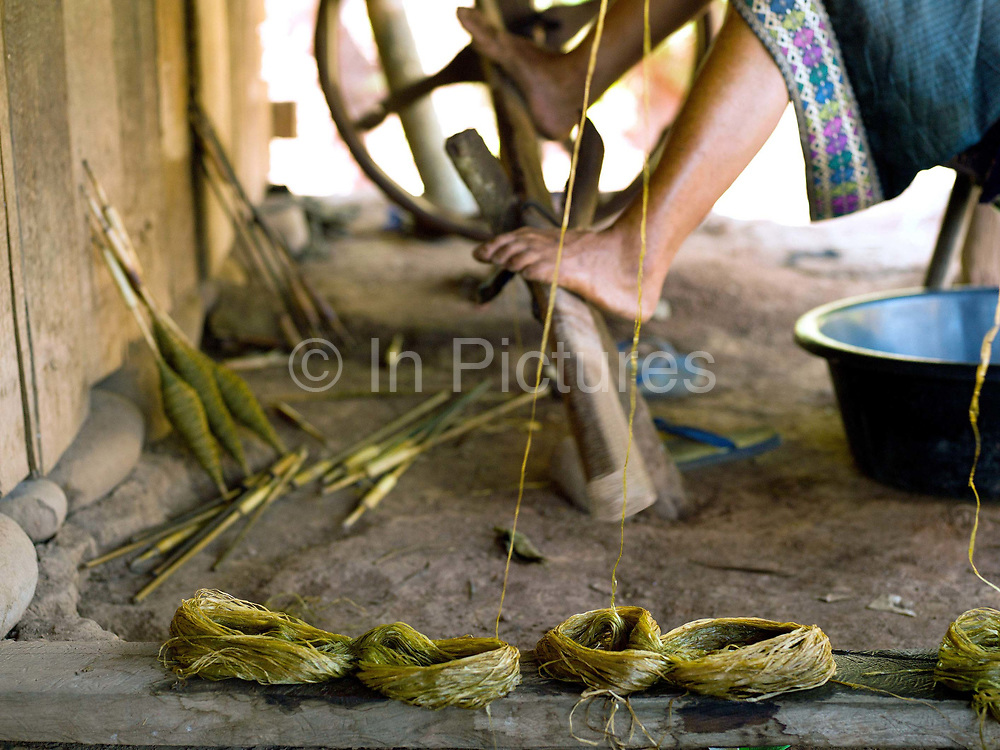 A Hmong ethnic minority woman reeling hemp fibre (cannabis sativa) onto spools using a foot treadle, Ban Tatong, Phongsaly province, Lao PDR. Making hemp fabric is a long and laborious process; the end result is a strong durable cloth with qualities similar to linen which the Hmong women make into skirts for their traditional clothing. In Lao PDR, hemp is now only cultivated in remote mountainous areas of the north. The remote and roadless village of Ban Tatong is situated along the Nam Kang river (an offshoot of the Nam Ou) and will be relocated due to the construction of the Nam Ou Cascade Hydropower Project Dam 7.