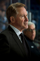 KELOWNA, BC - FEBRUARY 7: Portland Winterhawks head coach and GM, Mike Johnston stands on the bench against the Kelowna Rockets at Prospera Place on February 7, 2020 in Kelowna, Canada. (Photo by Marissa Baecker/Shoot the Breeze)