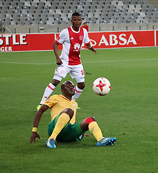 Rodrick Kabwe and Lerato Lamola in action for Ajax Cape Town in the match between Ajax Cape Town and Golden Arrows at the Cape Town Stadium on Saturday, August 19, 2017.