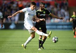 Federico Fernandez of Swansea City tackles Diego Costa of Chelsea - Mandatory byline: Alex James/JMP - 07966386802 - 11/09/2016 - FOOTBALL - Barclays premier league -swansea,Wales - Swansea v Chelsea  -