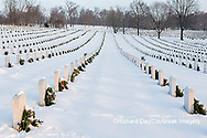 65095-02918 Wreaths on graves in winter Jefferson Barracks National Cemetery St. Louis,  MO