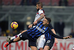 February 3, 2019 - Milan, Milan, Italy - Matias Vecino #8 of FC Internazionale Milano competes for the ball with Larangeira Danilo #23 of Bologna FC during the serie A match between FC Internazionale and Bologna FC at Stadio Giuseppe Meazza on February 3, 2019 in Milan, Italy. (Credit Image: © Giuseppe Cottini/NurPhoto via ZUMA Press)
