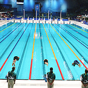 A panoramic image of a Men's 50m Freestyle heat start at the Sydney Olympic Pool at Sydney Olympic Park, during the  2000 Sydney Olympic Games...Panoramic images from the Sydney Olympic Games, Sydney, Australia. 2000 . Photo Tim Clayton