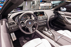 NEW YORK, USA - MARCH 23, 2016: BMW M6 convertible interior on display during the New York International Auto Show at the Jacob Javits Center.