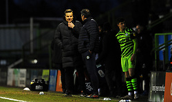 Forest Green Rovers manager Mark Cooper talks to Assistant manager Richard Dryden- Mandatory by-line: Nizaam Jones/JMP - 16/01/2021 - FOOTBALL - innocent New Lawn Stadium - Nailsworth, England - Forest Green Rovers v Port Vale - Sky Bet League Two